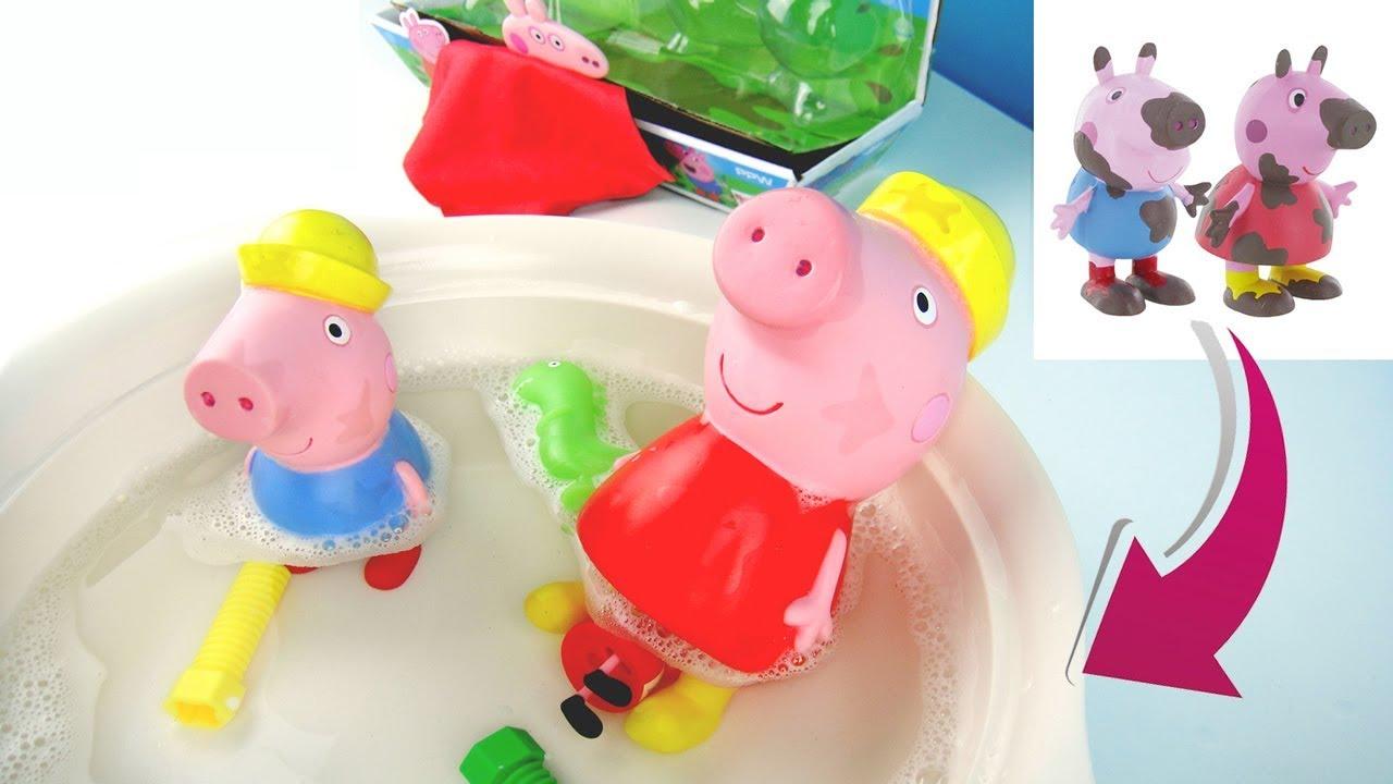 玩粉紅豬小妹 魔法洗澡遊戲組 泥巴髒污洗後消失 玩具開箱 - YouTube