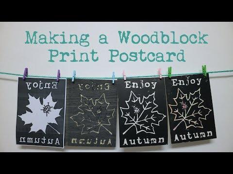 Making a Woodblock Print Postcard