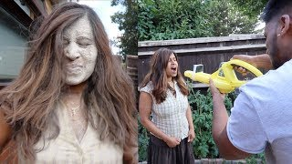 FLOUR LEAF BLOWER PRANK ON ANGRY MOM! (EXTREME)