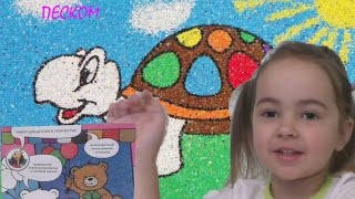 Фреска. Делаем картинку из цветного песка.Развивающие игры для детей!!!!!!