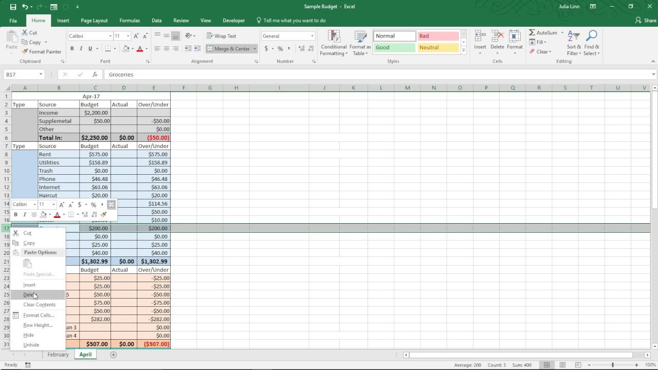 zero based budget spreadsheet
