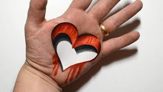 3D Trick Art on Hand - Drawing Heart Hole