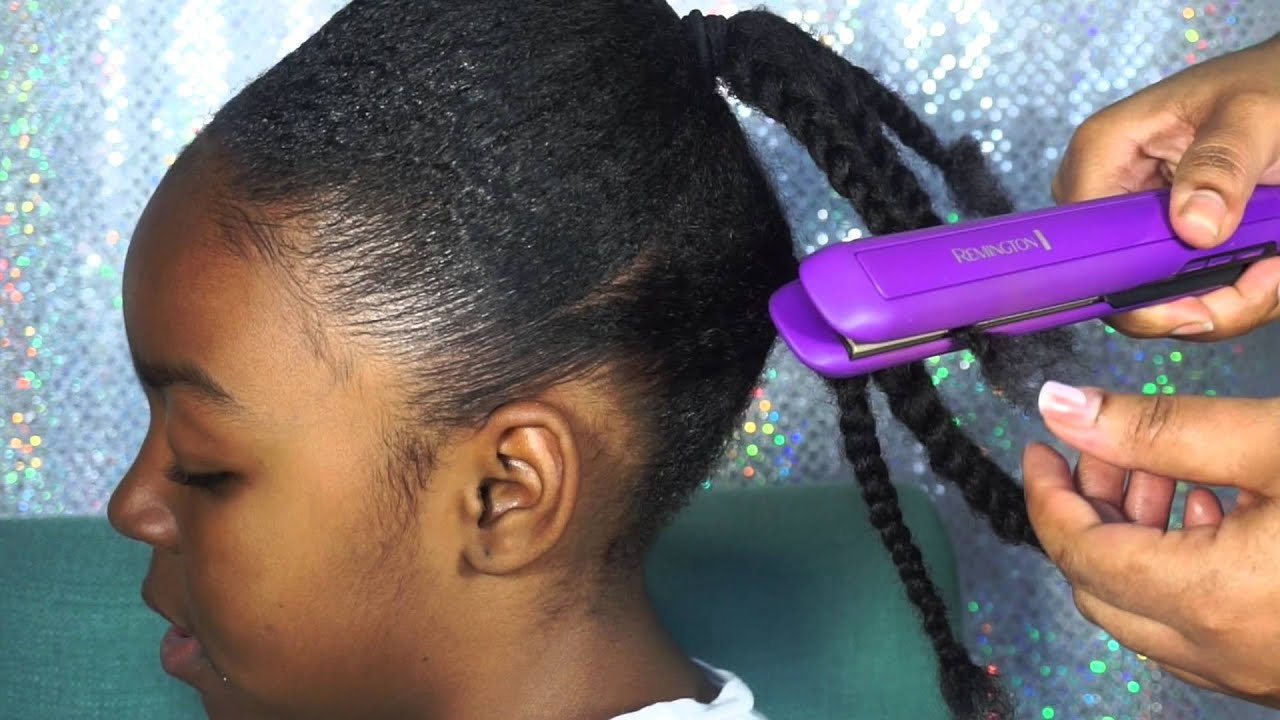 kids double pony tail on natural hair | blow out hair - youtube