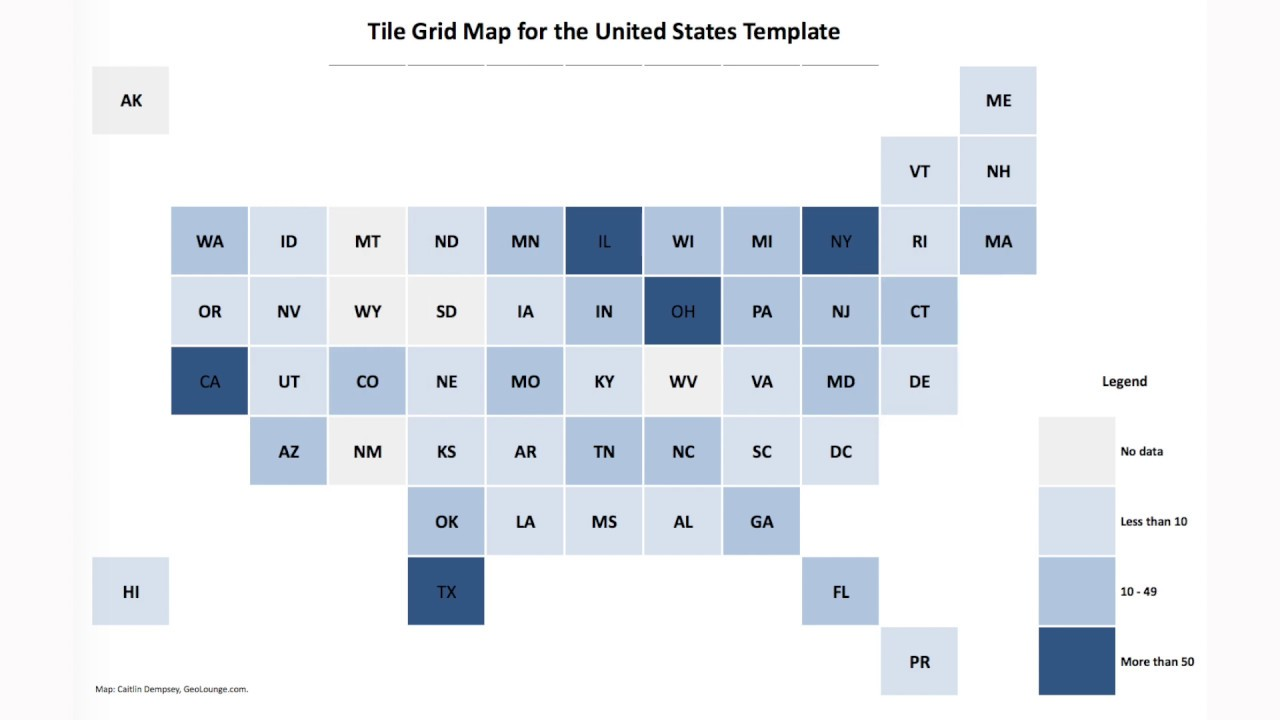 Use Google Sheets to Create a Tile Grid Map of the United States