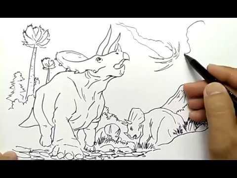 Cara Menggambar Dinosaurus Jatuh Meteor Youtube