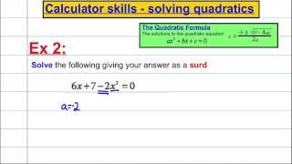CASIO FX 991ES PLUS: Calculator skills - solving quadratics