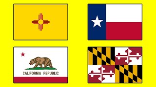 Flags Of USA Animation With US National Anthem - The Animated States Of America