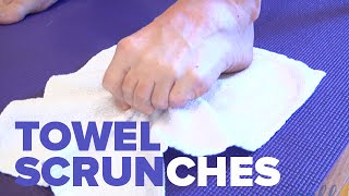Towel Scrunch - Ankle Rehabilitation Physical Exercise For Ankle Injury Recovery