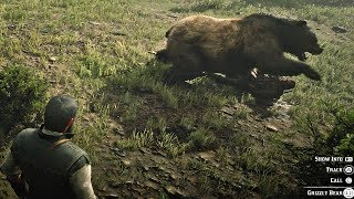 Red Dead Redemption 2 - Epic Grizzly Bear Attack on Hunter & John Marston (RDR2 2018)