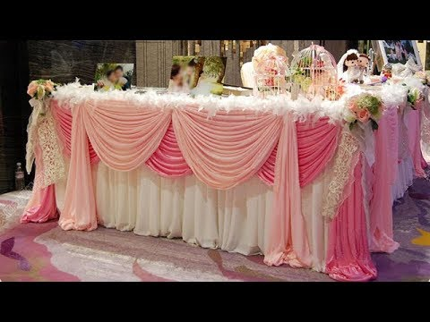 Tutorial Of Decorate Long Table With Flowers And Fabric/ Table Decoration / Wedding Table Cloth