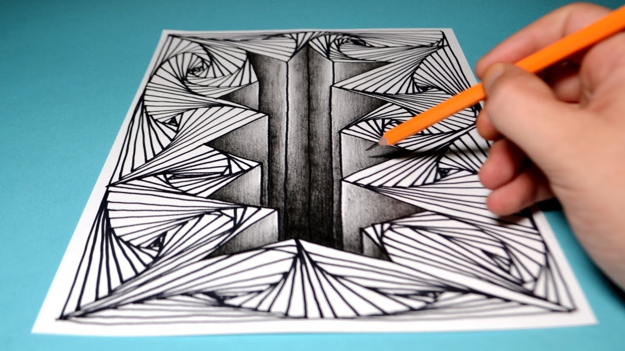 3d Cracked Hole Line Illusion Fun Drawing For Kids Beginners Youtube