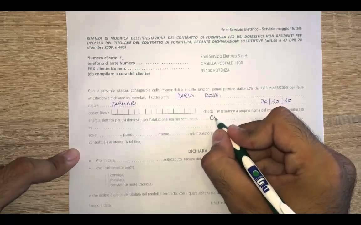 voltura contratto enel non residenti decesso intestatario - youtube