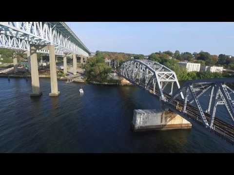 Thames River and the Gold Star Bridge: A Drone Tour
