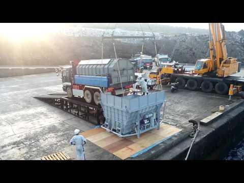 南大東島の砂糖初荷役 内航貨物船大峰山丸