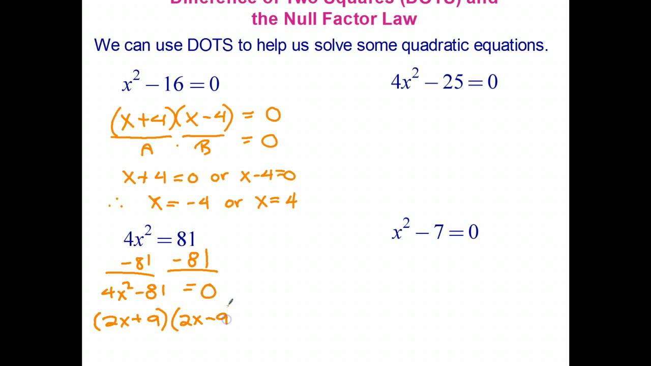 solving quadratic equations using the difference of two
