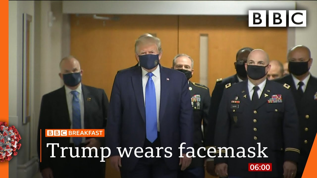 Coronavirus: Donald Trump finally wears mask in public - Covid-19: Top stories this morning - BBC