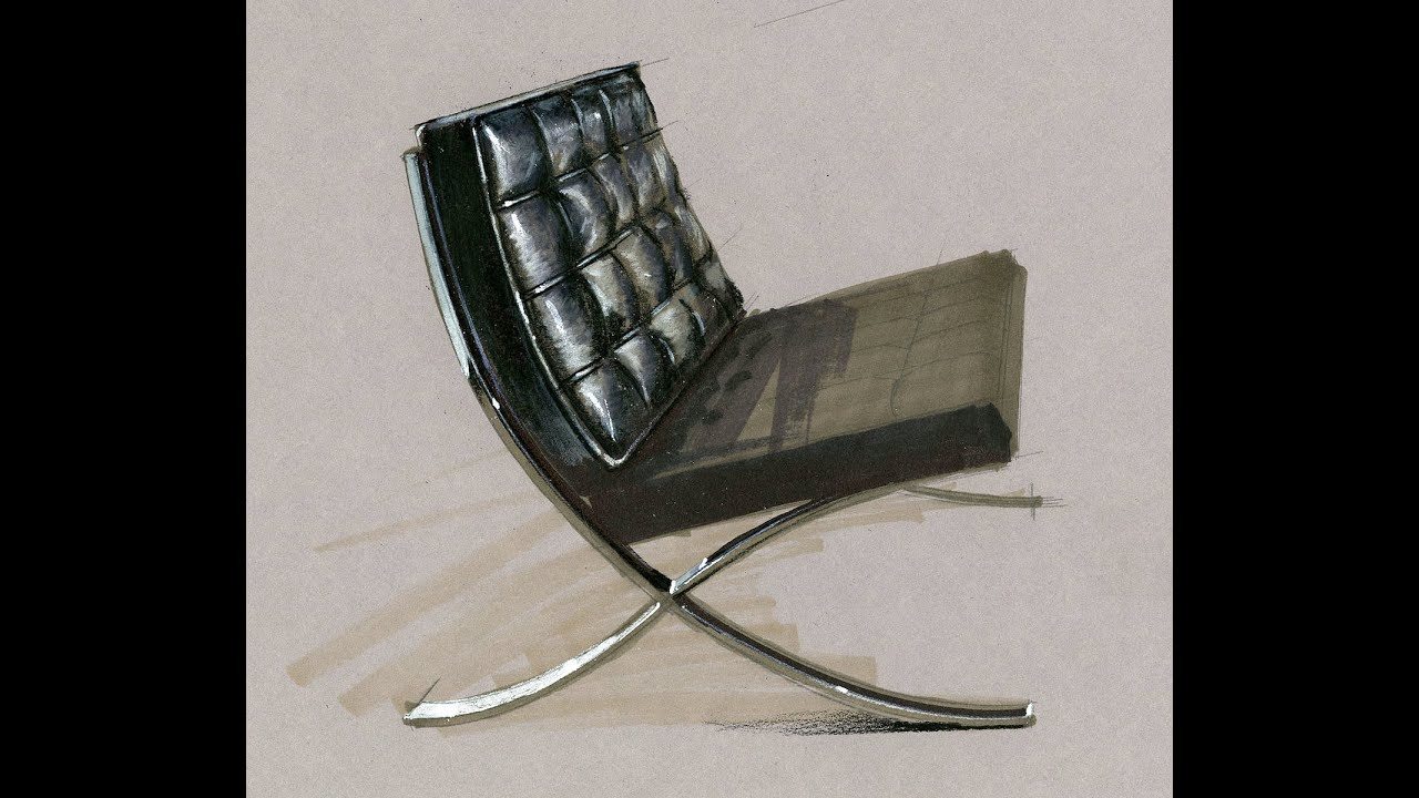 Tutorial   Freehand Rendering, Barcelona Chair, HD Short 8 Min, 160121
