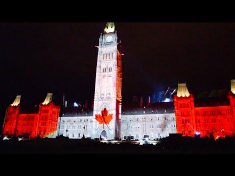 Ottawa Parliament  Northern Lights Show (HD) -  Summer 2015