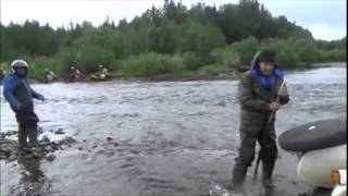 Ural deep river crossing