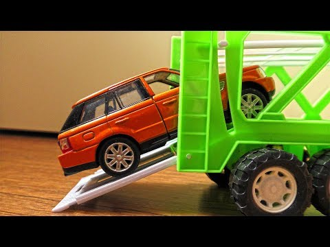 Video about Toy Cars being transported by Trucks and Haulers (for kids)