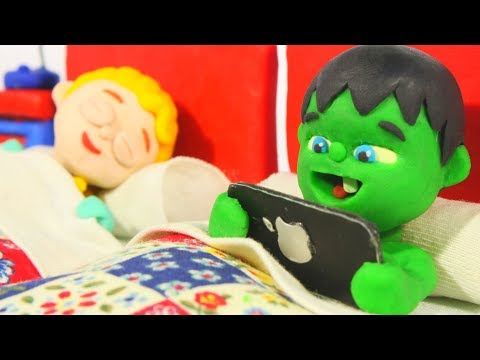 BABY HULK CAN'T FALL ASLEEP ❤ Spiderman, Hulk & Frozen Elsa Play Doh Cartoons For Kids