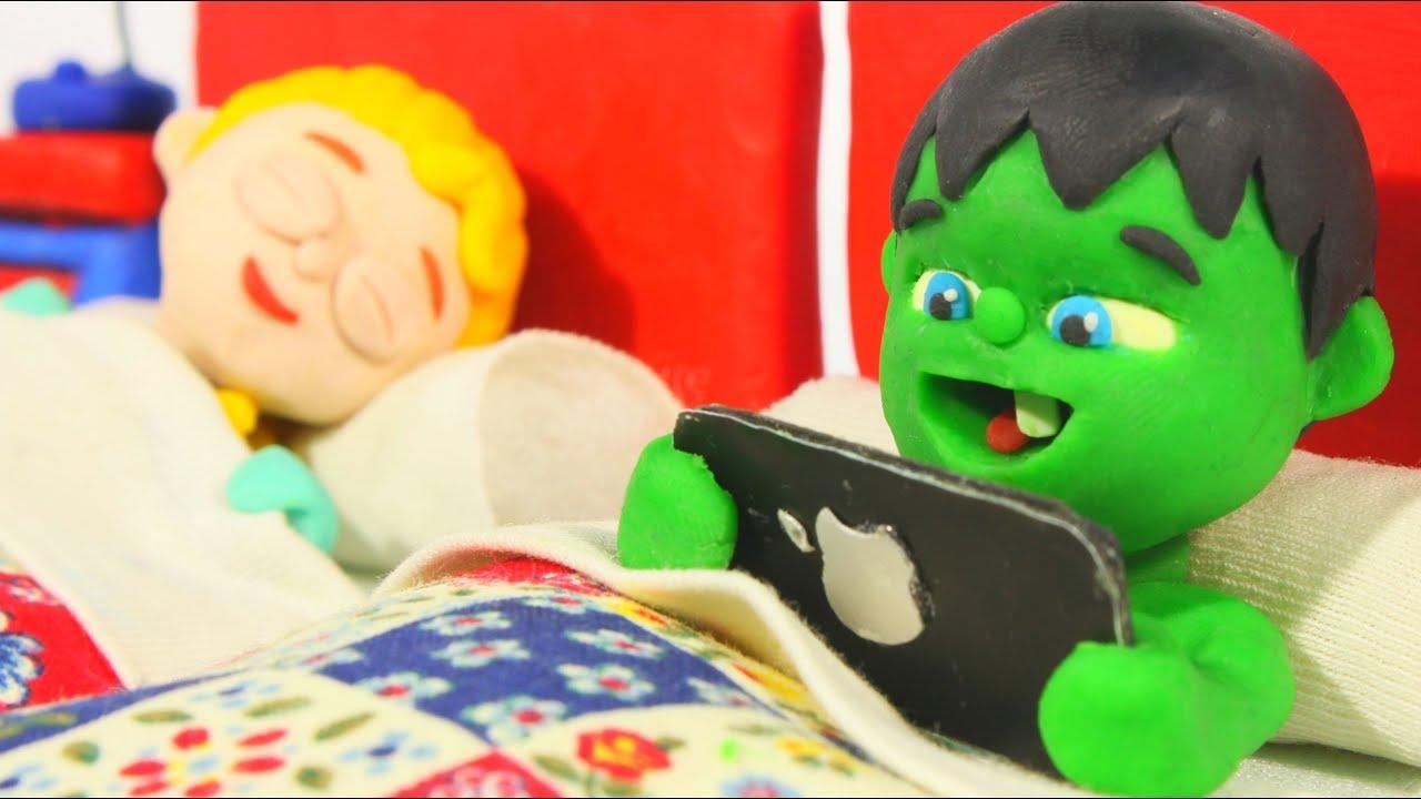 BABY HULK CAN'T FALL ASLEEP ❤ Spiderman, Hulk & Frozen Elsa Play Doh Cartoons For Kids
