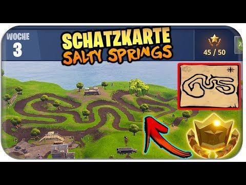 📍🗺️🌟 SALTY SPRINGS SCHATZKARTE 🐥 10 GUMMIENTEN | Fortnite Season 4 Woche 3 Deutsch German
