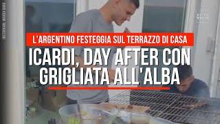 Icardi, festa champions cha con grigliata all'alba