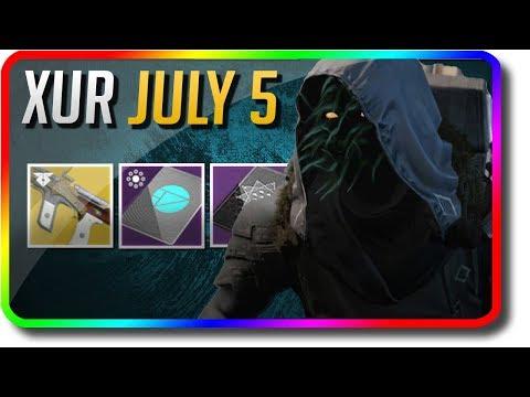 "Destiny 2 - Xur Location, Exotic Armor Random Rolls & Xur Bounty ""Huckleberry"" (7/5/2019 July 5)"