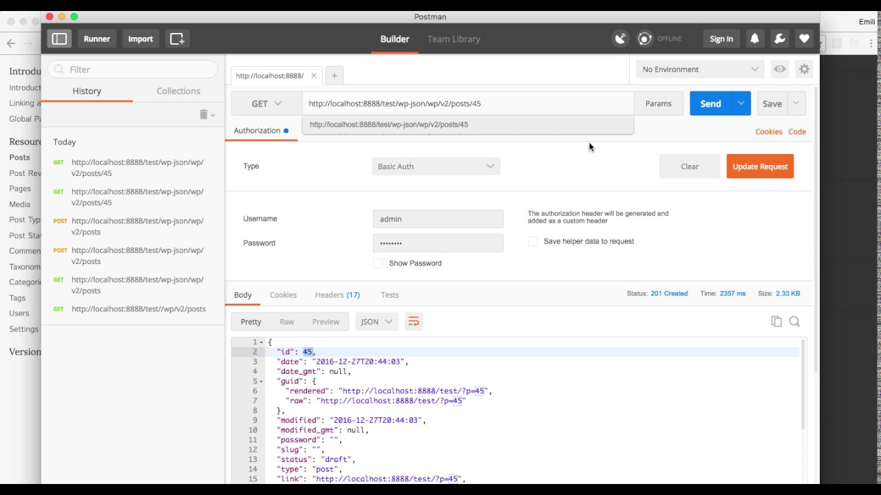 WP REST API introduction doing CRUD operations with Postman