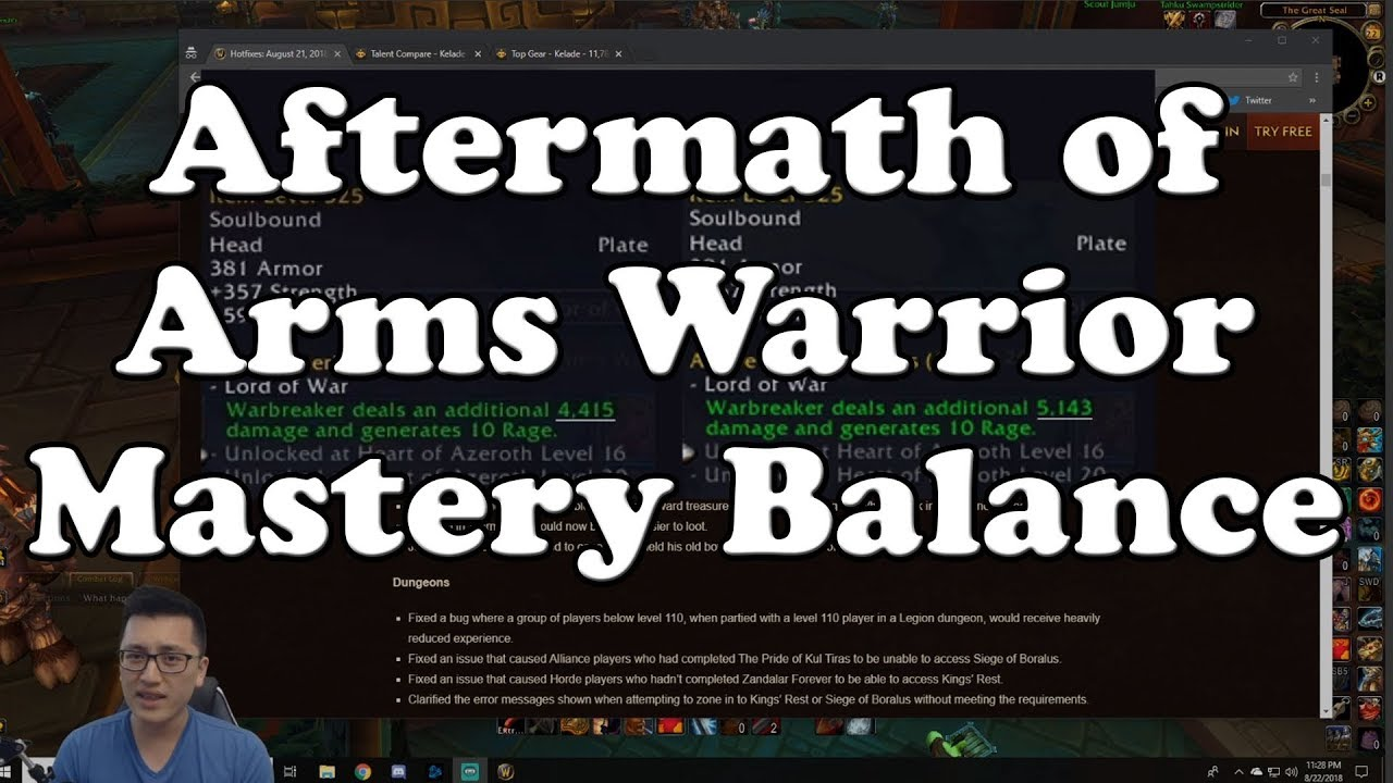 Aftermath of Arms Warrior Mastery Balance Hotfix