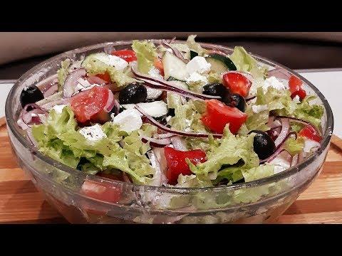 """Салат за 10 минут вкусный ,красивый и никакого майонеза! Любимый """"Греческий"""" салат!"""