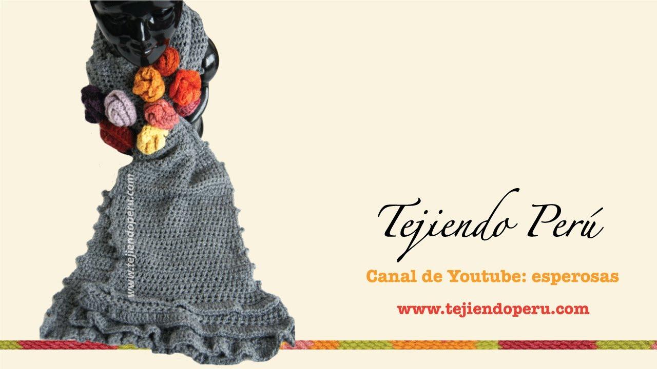 Bufanda con bobos y flores tejida a crochet (Parte 1) - YouTube