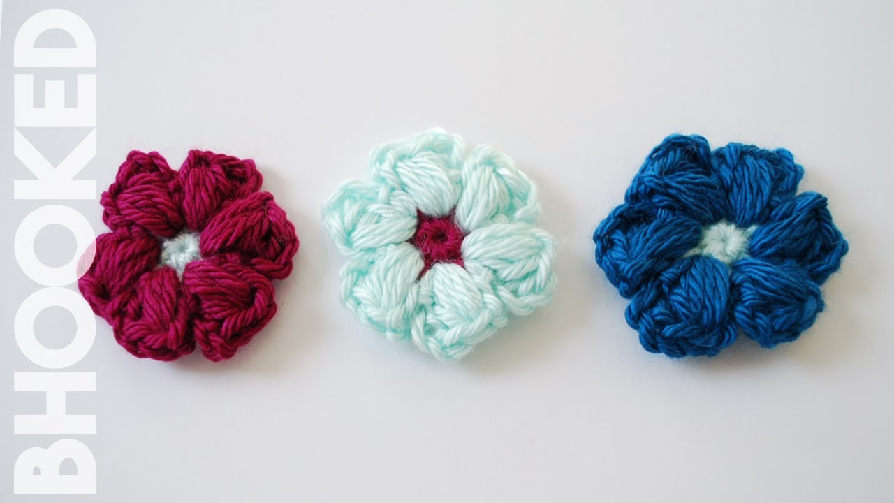 Diy crochet 6 petal puff stitch flower blanket - How To Crochet A Puff Stitch Flower Beginner Friendly Tutorial Youtube