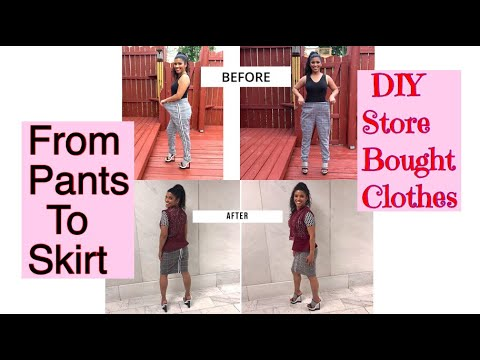 From pants to 2 skirts store bought clothing DIY