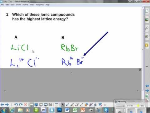 Lattice Energy - 2 major factors - charge total and then size