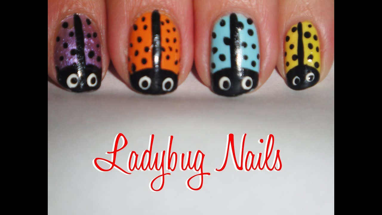 tutorial easy ladybug nails