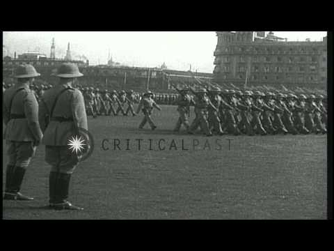 US Marines parade with Pith helmets, in Shanghai, China. HD Stock Footage