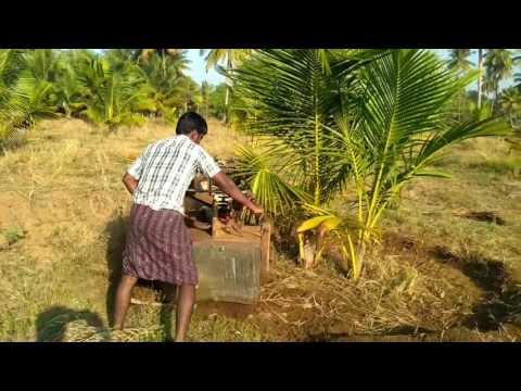 Vst tiller make round basin to irrigate coconut tree