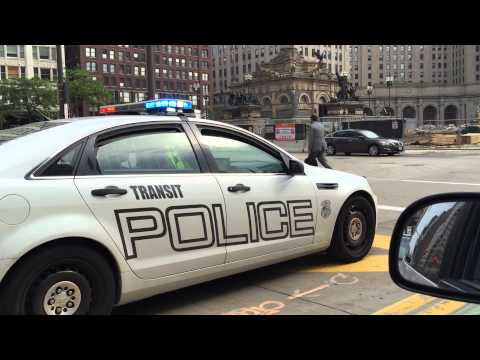 QUICK CLIP OF CLEVELAND TRANSIT POLICE UNIT WHILE ON TRAFFIC CONTROL IN CLEVELAND, OHIO.