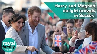 Prince Harry and Meghan delight crowds in Sussex on first official visit to the county