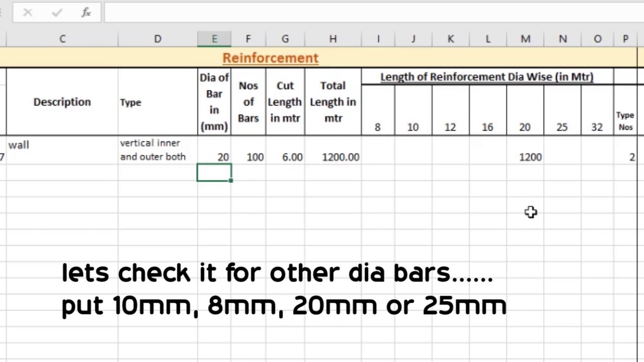 BBS in Excel | steel calculation in Excel sheet
