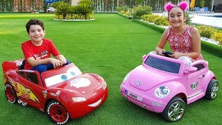 Kids are playing with cars and toy blocks, funny video for kids