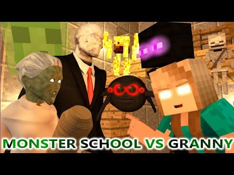 MONSTER SCHOOL VS GRANNY CHALLENGE! Ft. Slender Man (official) Minecraft Horror Game Animation Video
