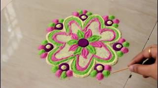 Quick and easy rangoli designs in under 5 mins l DIY l Colorful designs