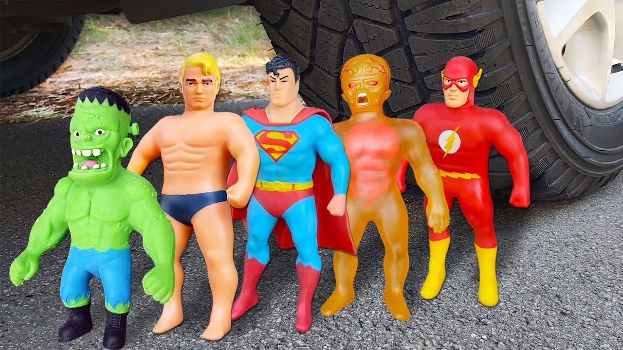 Experiment ! Car vs Stretch Armstrong vs Frankenstein vs Superman vs XRay vs Flash and Balloons