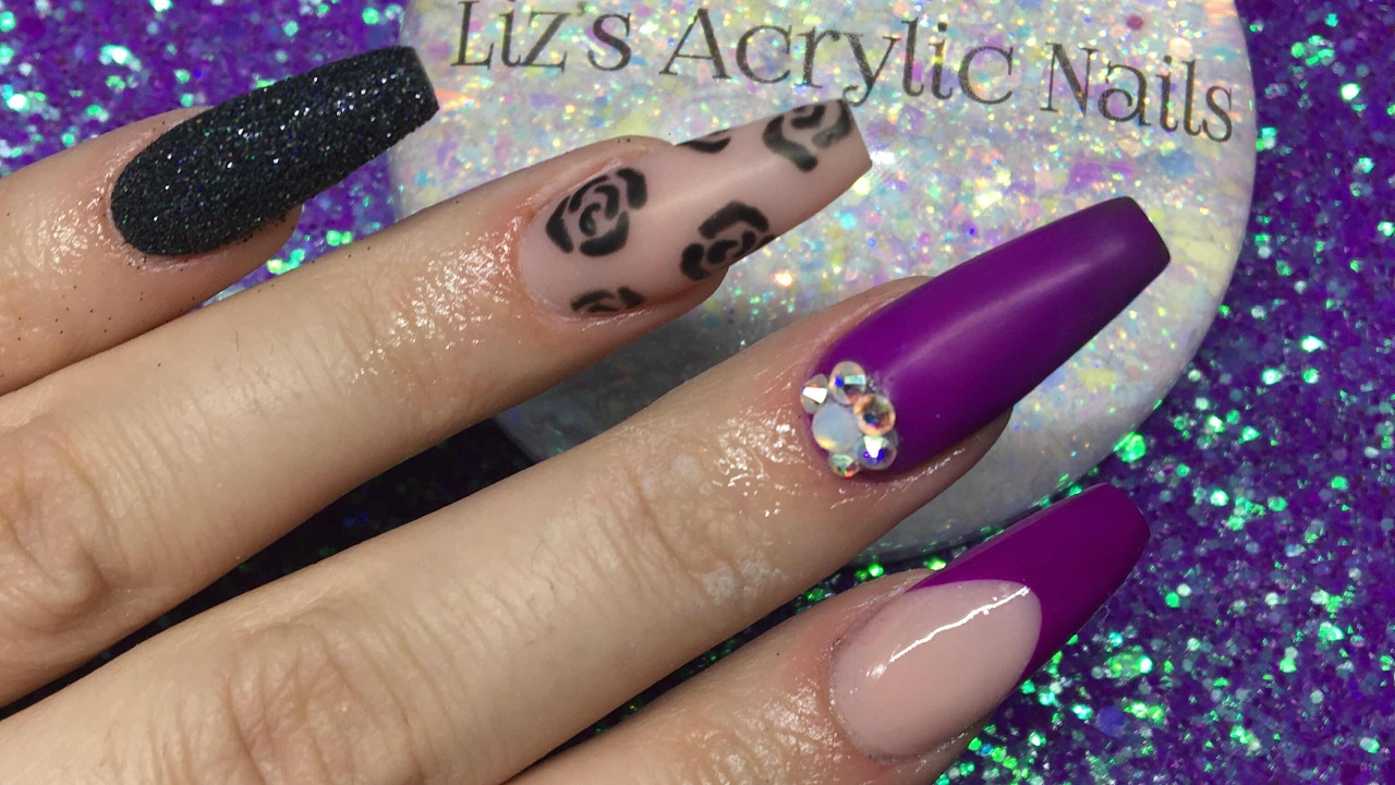 Acrylic nails | neon purple | matte - YouTube
