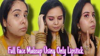 Full Face Makeup Using Only Lipsticks Challenge | Lipstick Challenge | Priya Makeup Channel