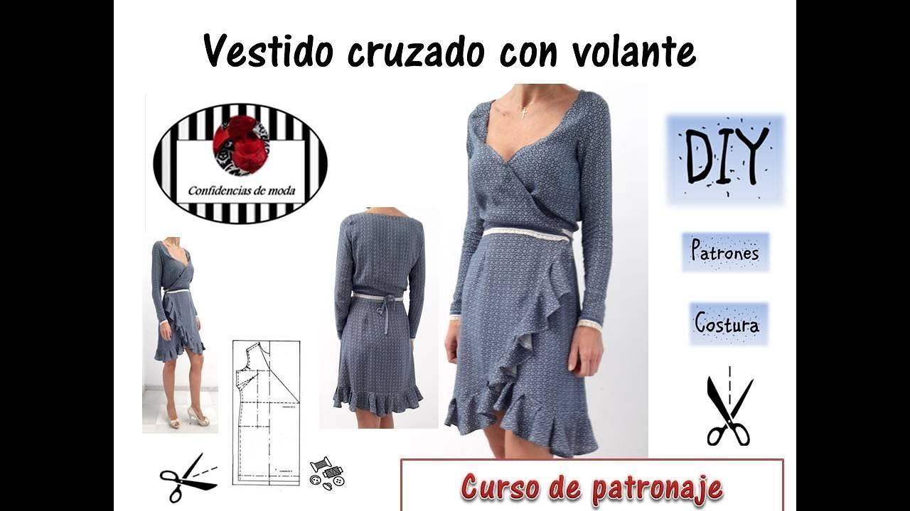 d3505cfa88 DIY. Vestido cruzado con volantes. How to make a Ruffled Wrap Dress.  Confidencias de moda