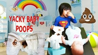 BABY ELI POOPS CHANGING STINKY DIAPER BABY DOLL POOPS AND PEE